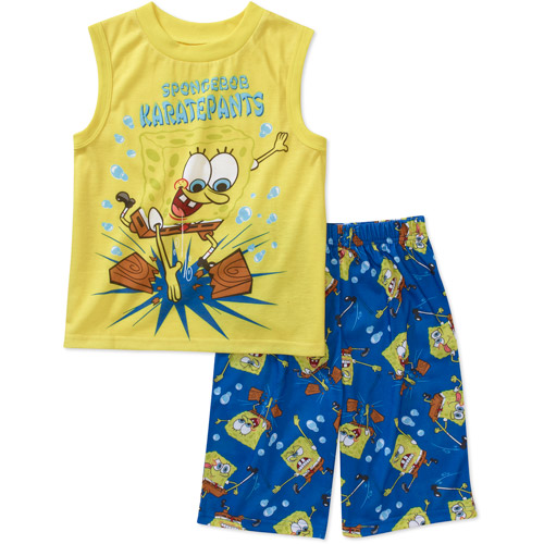 Nickelodeon - Boys Spongebob 2 Piece Poly Muscle Tee and Short Pajama Set