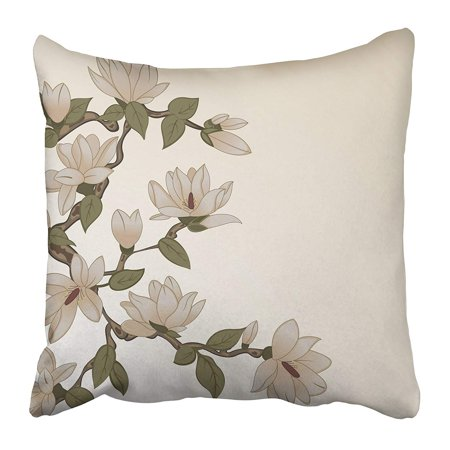 ECCOT Pink Classic with Magnolia Flowers on Branch Collection Cute Elegance Floral Garden Pillow Case Pillow Cover 20x20 inch