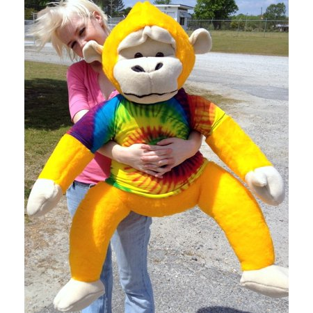 40-inches tall Yellow Groovy Hippie Monkey wearing Rainbow Tie Dye T-Shirt MADE IN USA ()