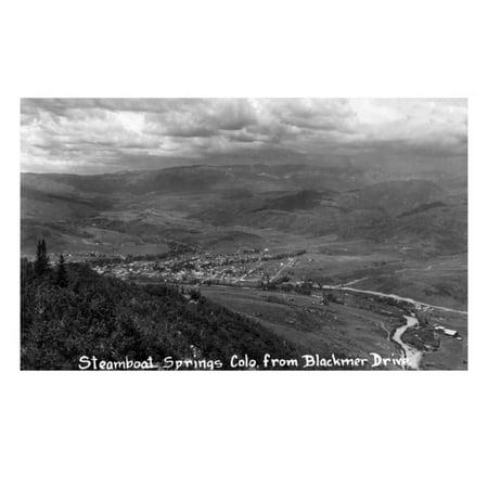 Steamboat Springs, Colorado - Aerial View of Town from Blackmer Drive Print Wall Art By Lantern Press (Black-für Schwarz)