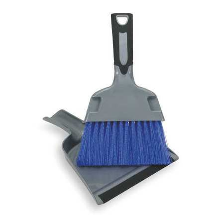 Tough Guy 2ZPC5 Silver, Black and Blue Mini Dust Pan With Brush