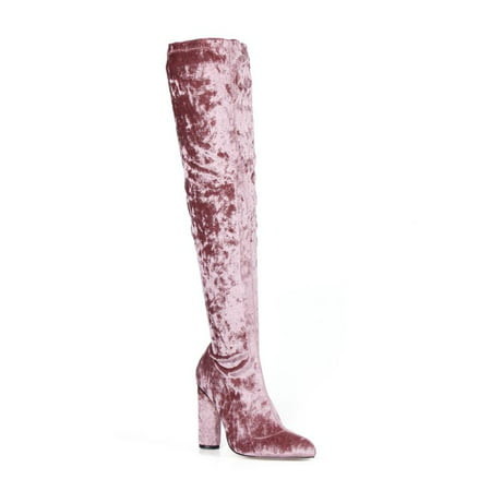 Fahrenheit Over knee Women's High Heel Boots in Mauve (Plaid Knee Boot)