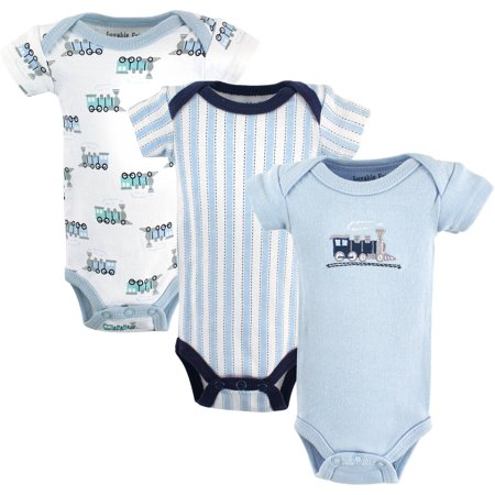 Luvable Friends Baby Boy Preemie Bodysuits, 3-Pack