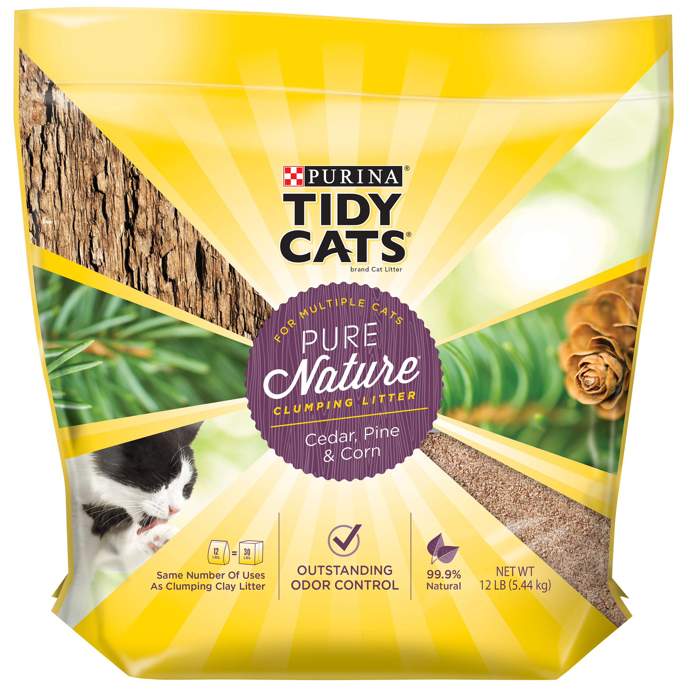 Purina Tidy Cats Pure Nature Cedar, Pine & Corn Clumping Litter for Multiple Cats 12 lb. Bag