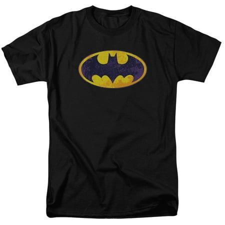 batman dc comics bm neon distress logo adult t-shirt tee - Batman T Shirts