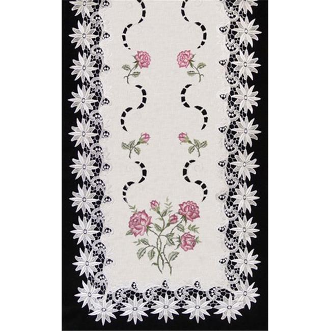 Sinobrite H0608-RS Pink Rose Lacey Edge Square Doily, 8 in.
