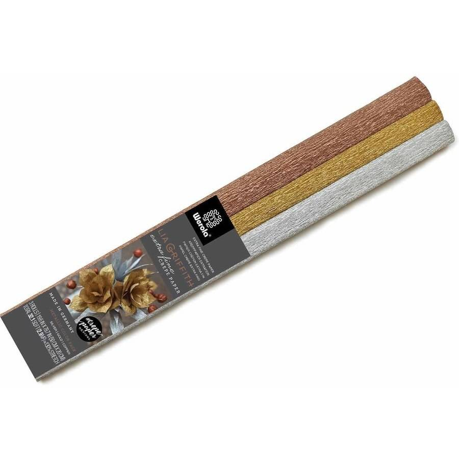 Lia Griffith Extra Fine Crepe Paper, Assorted Metallic, 3 Sheets
