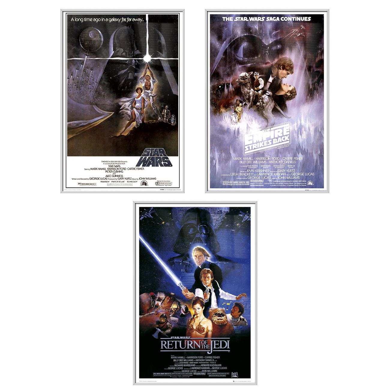 "Star Wars Episode IV, V & VI - 3 Piece Movie Poster / Print Set (3 Regular Style Posters - Version 1) (Size: 24"" x 36"" each)"