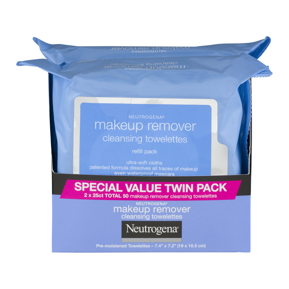 Neutrogena Cleansing Towelettes Makeup Remover 2 Refill Pack - 50 CT