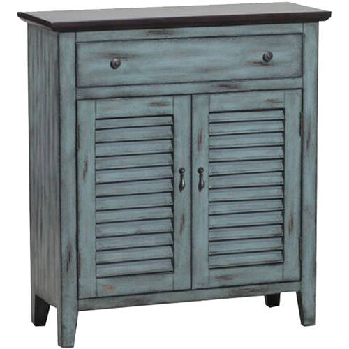 Powell Shutter Door Console Cabinet, Antique Blue And Brown Distressed