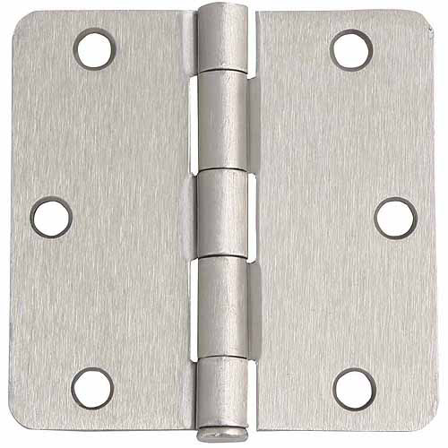 "Design House 202457 6-Hole 1/4"" Radius Door Hinge, 3.5"" x 3.5"", Satin Nickel Finish"