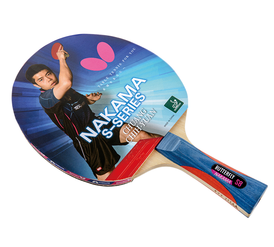 Butterfly Nakama S8 Ping Pong Racket-All Wood Blade-Flextra 1.9 Rubbers by Butterfly
