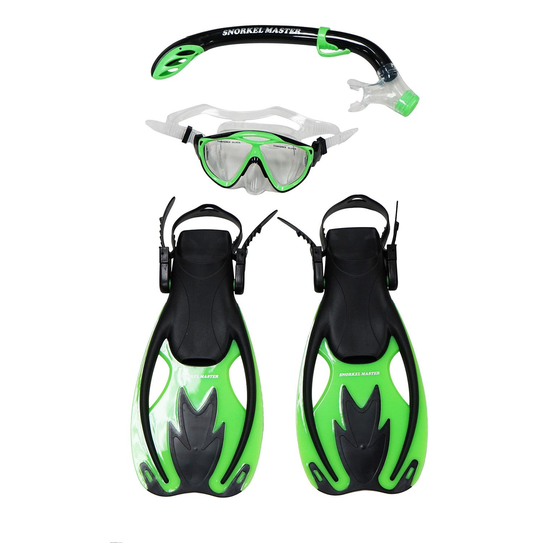 Snorkel Master Snorkeling KIDS Mask, Snorkel, & Fins Set, Green Black by Scuba Choice