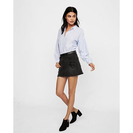 Express Suit (Express Destroyed Denim Mini Skirt, Pitch Black,)