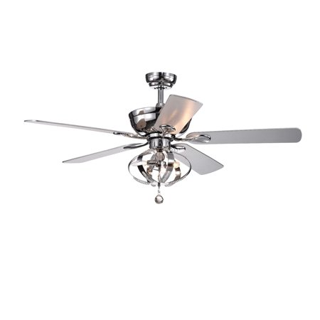 Tatiana 5-blade 52-inch Chrome Ceiling Fan with 3-Light Royal Chandelier (Remote (23 Beckwith 5 Blade Ceiling Fan With Remote)