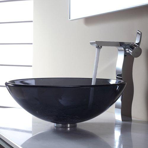 Kraus Bathroom Combos Glass Vessel Bathroom Sink with Single Handle Faucet