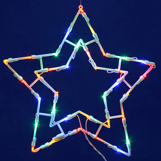 "15"" Lighted LED Double Star Christmas Window Silhouette Decoration"