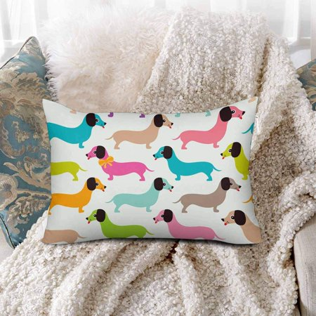 GCKG Seamless Pattern Kids Retro Dachshund Puppy Pillow Cases Pillowcase 20x30 inches - image 1 de 4