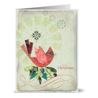 24 Holiday Cards - Fancy Christmas Cardinal - Blank Cards - Green Envelopes Included