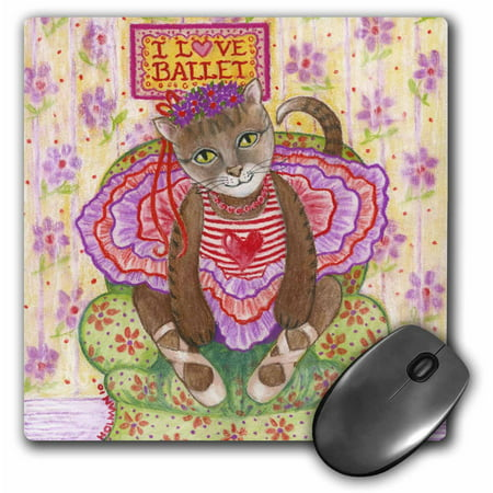 Cat And Mouse Costume (3dRose cat ballet ballerina cat in ballet costume I love ballet pastel illustration dance tutu feline, Mouse Pad, 8 by 8)
