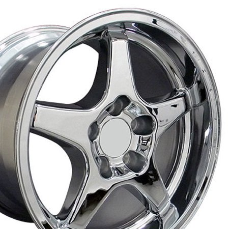17x11 Wheel Fits Corvette, Camaro - ZR1 Style Chrome Rim - REAR FITMENT ONLY Corvette C5 Style Wheel