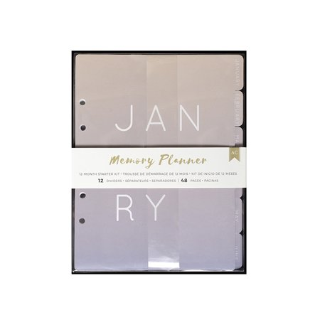 American Crafts Memory Planner Starter Kit Months - 12 Tabbed Monthly Dividers, 48 Inside Pages - 1 Year Planner ()