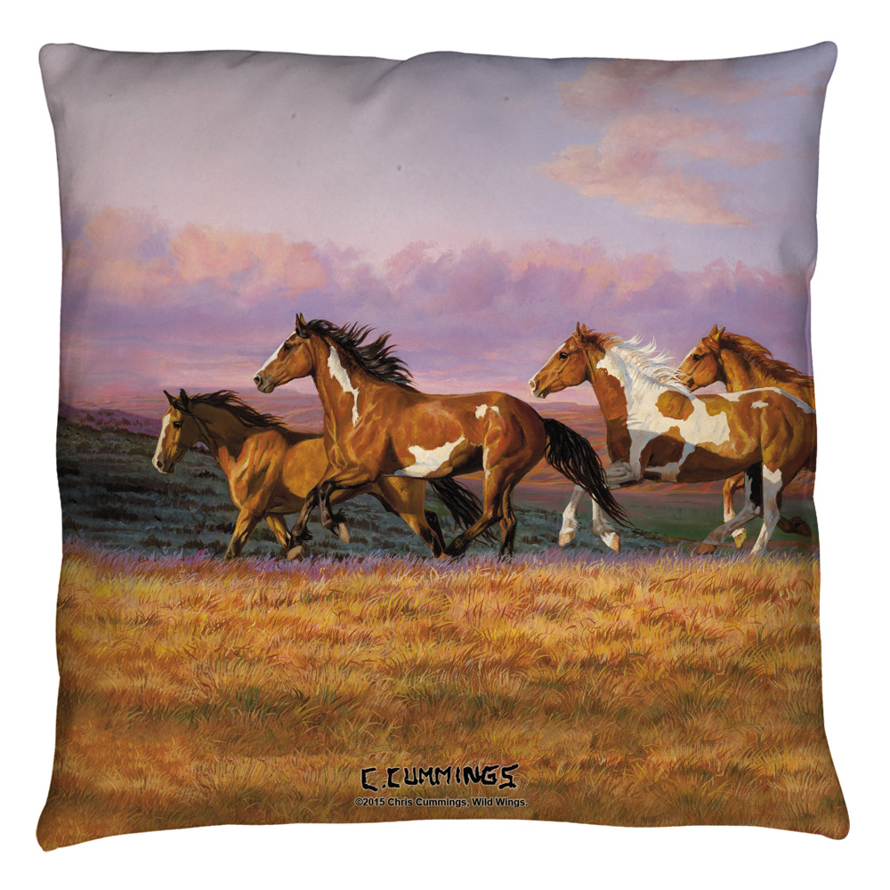 Wild Wings Sunset Cruise 2 Throw Pillow White 18X18