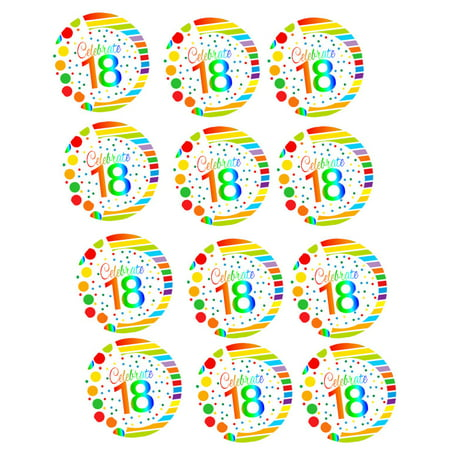 CakeSupplyShop Item#RE-018 Happy 18th Birthday 2inch Rainbow Edible Cupcake / Cookie Frosting Image Toppers -12ct - Frosting Cupcakes For Halloween