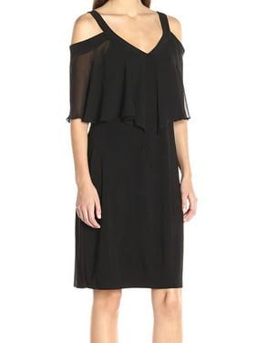 b808190dbcc3 Product Image MSK NEW Black Women's Size 10 Cold Shoulder Ruffle V-Neck  Sheath Dress
