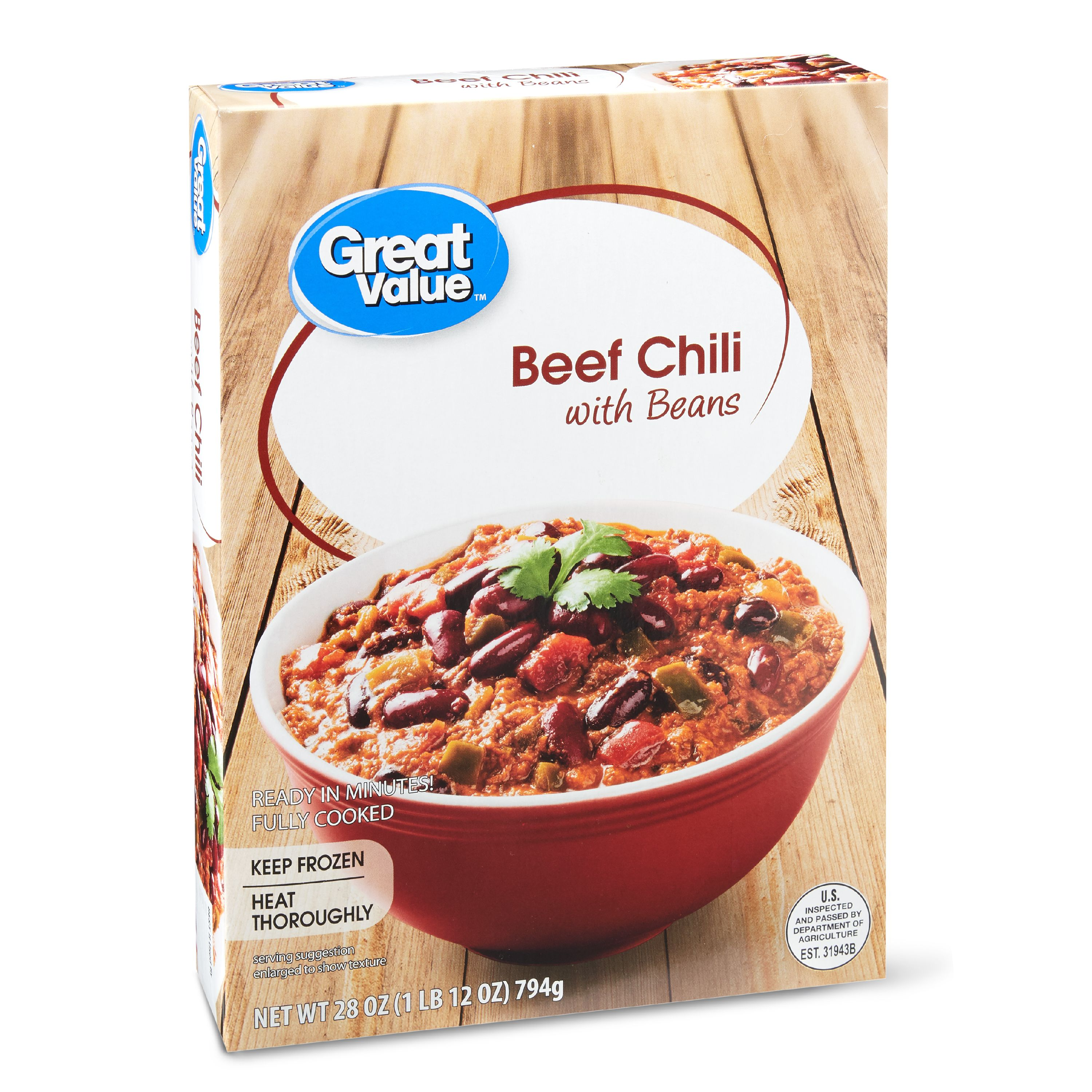 Great Value Frozen Beef Chili with Beans, 28 oz