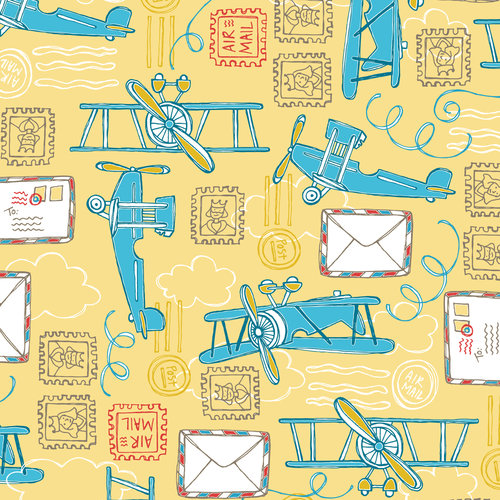 Emma & Mila The Plane Time Collection Cotton Planes in Yellow Fabric, per Yard