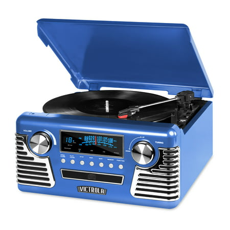 Victrola Retro Record Player with Bluetooth, CD Players and 3-speed Turntable, Blue (Record Player Jukebox)