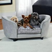 "Enchanted Home Pet Quicksilver Dog Sofa, Silver, X-Small, 34.75""L x 23""W x 16""H"