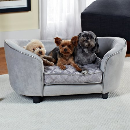 "Enchanted Home Pet Quicksilver Dog Sofa, Silver, X-Small, 34.75""L x 23""W x 16""H"