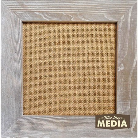 "Jillibean 10"" x 10"" The Media Weathered Wood Frame with Burlap, 1 Each"