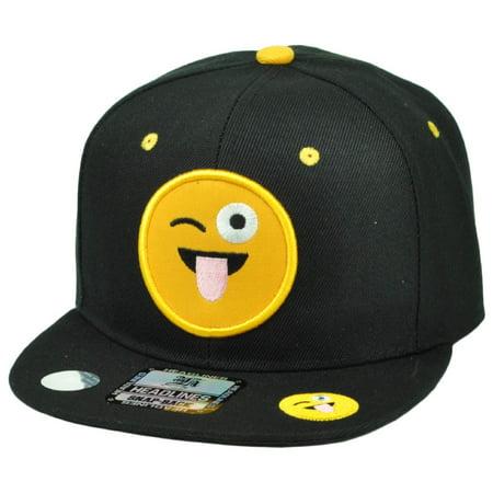 Emoji Tongue Out Face Crazy Emoticons Text Symbol Snapback Hat Cap Flat Bill (Crazy Hats For Sale)