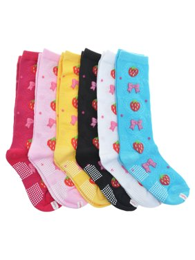 Angelina Girls Cotton Knee-High Socks with Bowtie Knit Print (6-Pairs)