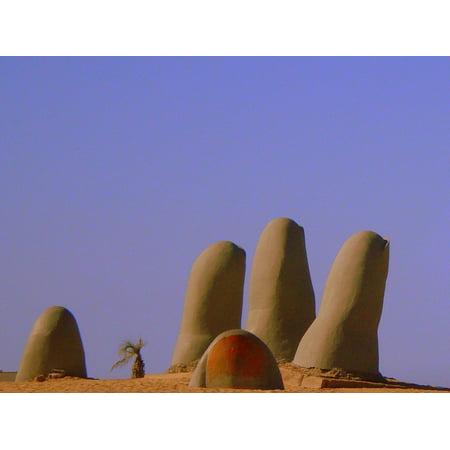 Canvas Print Sand Hand Monument Beach Punta Del Este Sculpture Stretched Canvas 10 x 14