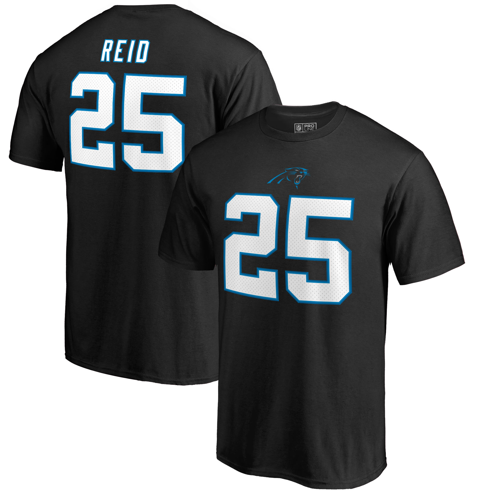 Eric Reid Carolina Panthers NFL Pro Line by Fanatics Branded Team Authentic Stack Name & Number T-Shirt - Black