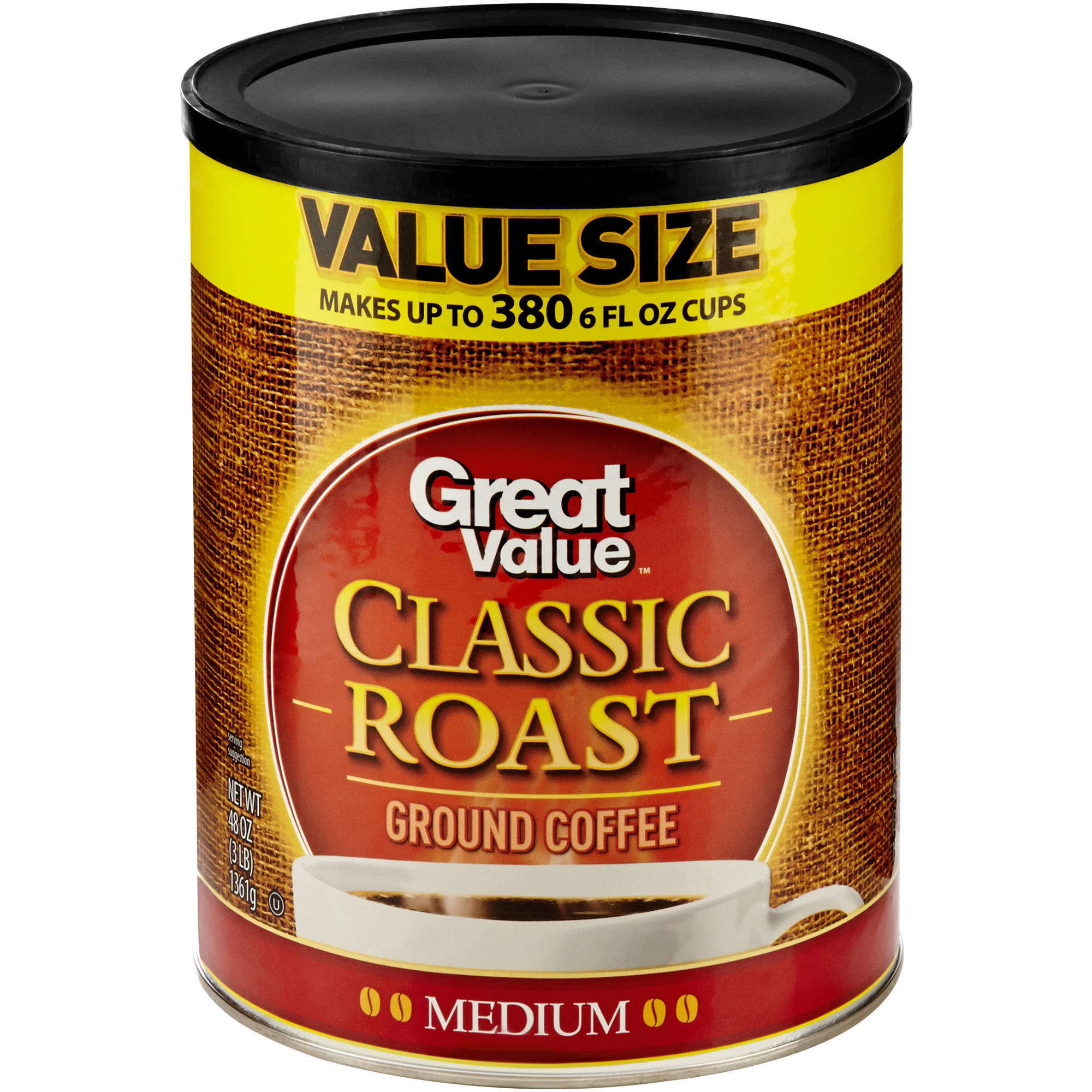 Great Value Classic Roast Medium Ground Coffee, 48 oz