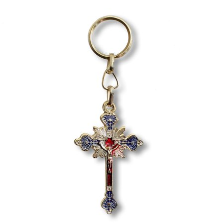 Yellow-Tone Cross Jesus Crucifix Christianity Key Chain - Red and Blue - Made in Israel - Cross Key Chains