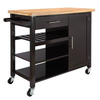 Homegear Utility V3 Kitchen Cart with Storage Cabinet Island on Wheels Brown