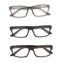 Inner Vision 3-Pack Reading Glasses Set w/Spring Hinges for Men & Women - (2.5 x Magnification) - 3 Clear Lens Readers (Neutral Color Variety)
