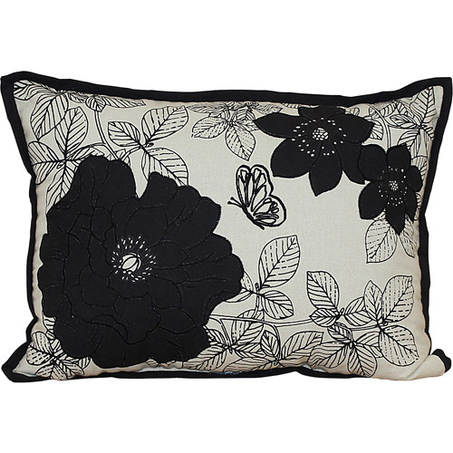 Better Homes and Gardens Floral Embrodery Black White Oblong Pillow