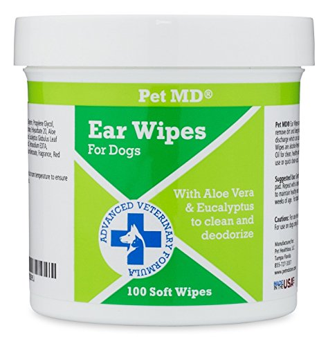 Pet MD - Dog Ear Cleaner Wipes - Otic Cleanser for Dogs t...