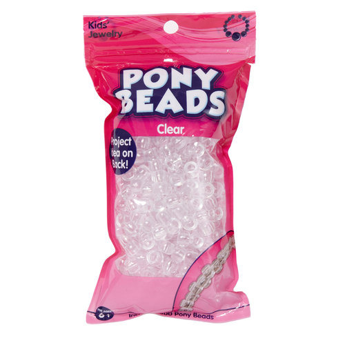 Kids Craft Plastic Pony Beads, Clear