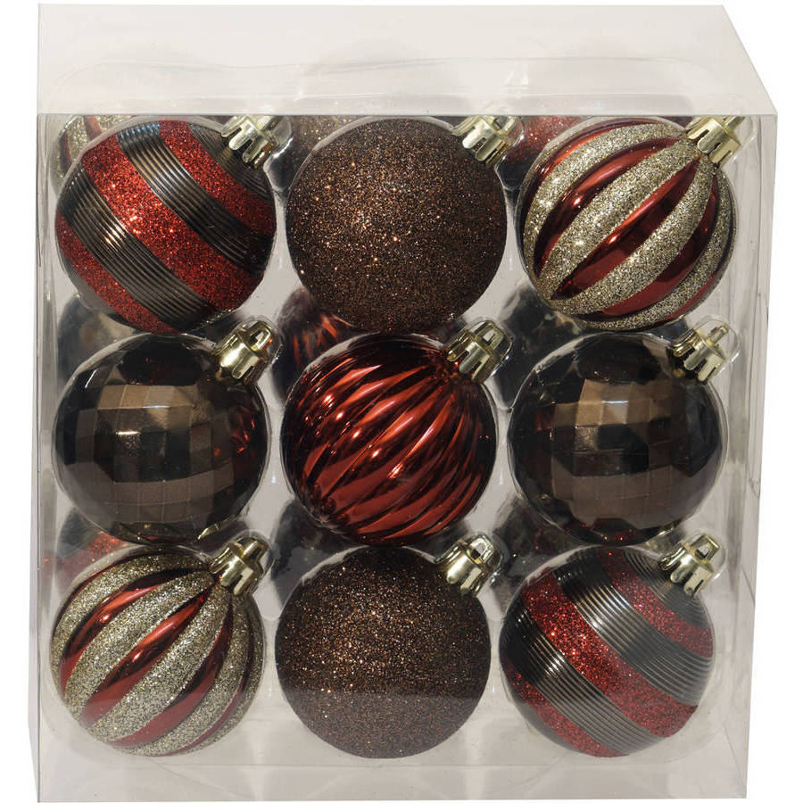 Holiday Time Christmas Ornaments Traditional 60mm Shatterproof, Set of 18, Dark Red / Brown / Champagne
