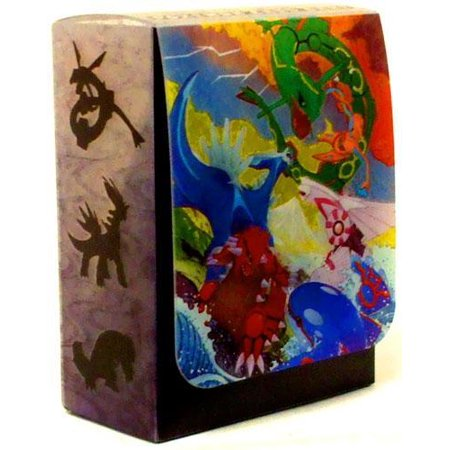 Pokemon Clash at the Summit Deck Box Each Japanese Pokemon Clash at the Summit deck box boasts brand new Pokemon art from the third Pokemon Legend set and is fit to hold one Pokemon deck in sleeves!  This deck box has cool art of the Pokemon: Dialga, Palkia, Deoxys, Groudon, Kyogre, and Rayquaza.  Use this super cool deck box to carry around your best Pokemon deck!  Do any of your Pokemon friends have one of these??