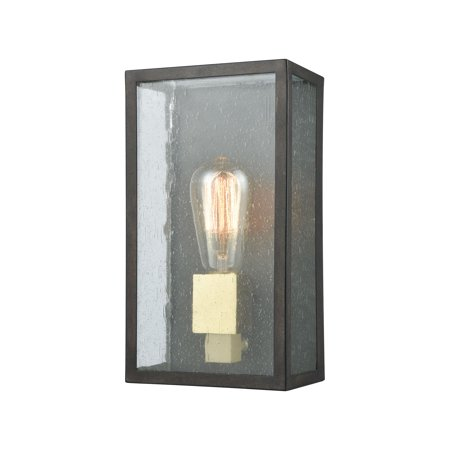 McKenzie 1-Light Outdoor Sconce in Blackened Bronze and Brushed Brass