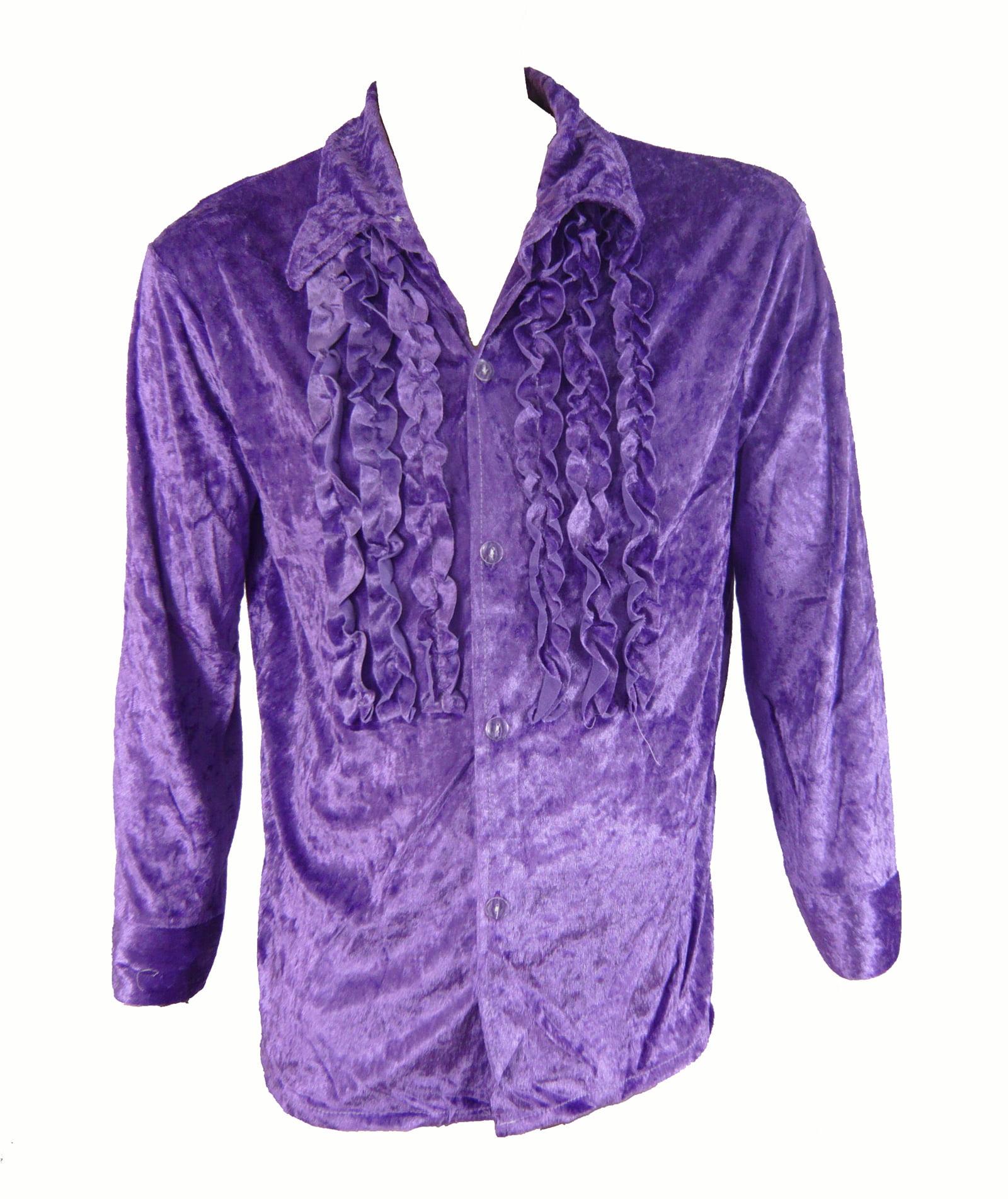 Velvet 1970/'s Men Adult Disco Shirt Purple